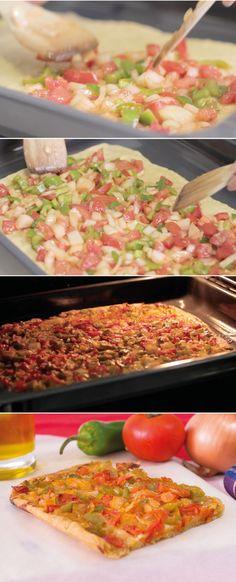 #Receta mallorquina Coca de #verduras ( Coca de Trampó)
