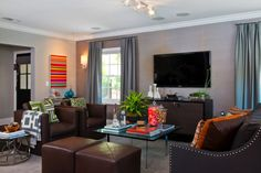 Jeff Lewis Spring Oak- Brown, gray and pops of bright color, contemporary