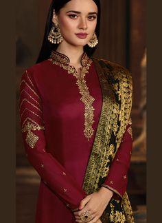 Gripping Maroon Georgette Satin Designer Straight Suit Pakistani Party Wear Dresses, Simple Pakistani Dresses, Pakistani Wedding Outfits, Pakistani Dress Design, Casual Indian Fashion, Indian Fashion Dresses, Indian Outfits, Fancy Dress Design, Kurta Designs Women