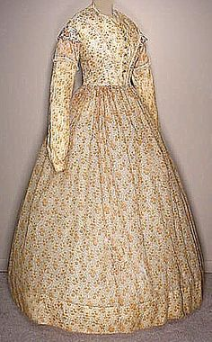 Calico Challis Day Dress 1850  from Old Sacramento Living History Program