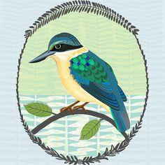 Missing You - Kotare by Jane Galloway. Wall Art print from The Little Art Gallery, Tairua, Coromandel, NZ Bird Prints, Wall Art Prints, Fine Art Prints, Contemporary Artwork, Miss You, New Zealand, Original Artwork, Folk, Art Gallery