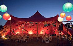 For the best outdoor event hire a stretch tent to add to the atmosphere and keep everything sheltered. The paper lanterns on this tent combined with the circus like lights give a very intimate feel - Bo-Dee events Marquee Hire, Marquee Wedding, Tent Wedding, Wedding Venues, Wedding Ideas, Wedding Reception, Wedding Hacks, Wedding Planning, Glamping