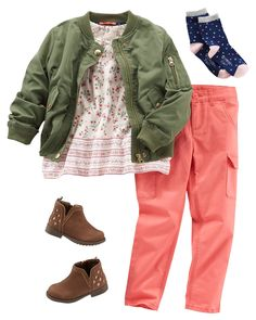 A perfect classroom-ready look, this outfit features laid-back pieces coupled with a drapey floral top that adds a fun pop of pattern. The cargos are sure to be her new go-to pair of pants while the jacket is a great cold-weather staple. Stylish Toddler Girl, Toddler Boy Fashion, Toddler Girl Style, Little Girl Outfits, Tween Fashion, Cute Outfits For Kids, Toddler Girl Outfits, Little Girl Fashion, Toddler Dress