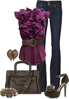 "Cute, cute outfit - hits that ""good for work and play"" balance that always eludes me.     ""Grape Ruffles"" by cynthia335 on Polyvore  Can I pull this off?"