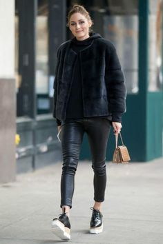 Olivia Palermo wearing Stella McCartney Elyse Platform Brogues, Analeena Mini Chancellor Bag in Camel and J Brand L8007 Edita Leather Leggings