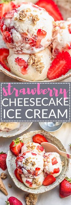 This recipe for No Churn Strawberry Cheesecake Ice Cream is the perfect frozen sweet treat for summer. Best of all, no ice cream maker needed. Full of fresh strawberries, streusel granola clusters (or graham crackers) and so easy to make! A delicious frozen treat to cool down with on a hot summer day.