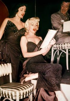 Jane Russell and Marilyn Monroe on the set of Gentlemen Prefer Blondes.