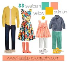 Seafoam + Salmon + Yellow family outfit inspiration: what to wear for a family photo session in the spring or summer. Created by Kate Lemmon, www.kateLphotography.com