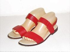 Maine Woods Women's Red Leather Strap Sandal Size 9 M #MaineWoods #StrapSandals