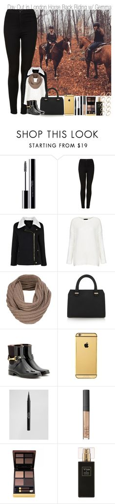 """""""Day Out in London Horse Back Riding with Gemma"""" by elise-22 ❤ liked on Polyvore featuring shu uemura, Topshop, Boohoo, French Connection, Victoria Beckham, Burberry, Goldgenie, Stila, NARS Cosmetics and Tom Ford"""