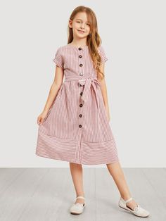 To find out about the Girls Waist Belted Single Breasted Striped Dress at SHEIN, part of our latest Girls Dresses ready to shop online today! Little Girl Dresses, Girls Dresses, Smock Dress, Shirt Dress, Girl Fashion, Fashion Dresses, Frock Design, Dress Patterns, Sewing Patterns