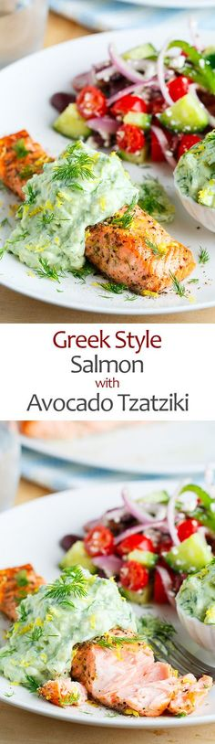 Frugal Food Items - How To Prepare Dinner And Luxuriate In Delightful Meals Without Having Shelling Out A Fortune Greek Style Salmon With Avocado Tzatziki Salmon Recipes, Fish Recipes, Seafood Recipes, Dinner Recipes, Cooking Recipes, Healthy Recipes, Salmon Dishes, Fish Dishes, Seafood Dishes