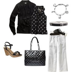outfit by JCrew. Try short sleeve black cardi for summer. White Pants Outfit, White Outfits, Summer Outfits, Casual Outfits, Summer Clothes, Casual Clothes, Black And White Love, Work Looks, Outfit Combinations