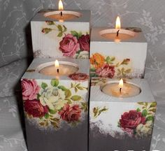 Candle Centerpieces, Christmas Centerpieces, Diy Candles, 2x4 Crafts, Barn Wood Crafts, Candle Craft, Diy Candle Holders, Decoupage Art, Bottle Crafts