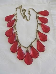 Vintage Red Lucite Statement Necklace by VintageVogueTreasure