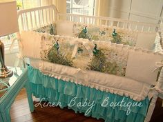 LOVE THIS!!!! Best Peacock Bedding I have seen! Peacock Crib Bedding Baby Bedding. 3 Piece Set Includes 3 Tiered Crib Skirt, Bumpers, and Blanket.
