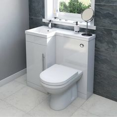 Style it your way with MySpace furniture Myspace white left handed unit with Arte back to wall toilet Tiny Bathrooms, Tiny House Bathroom, Bathroom Toilets, Modern Bathroom, Small Bathroom, Bathroom Vanities, Luxury Bathrooms, Bathroom Cabinets, Small Toilet Room