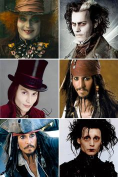 Johnny Depp as The Mad Hatter/Sweeney Todd/Willy Wonka/Jack Sparrow/Edward Scissorhands Film Pirates, Jonny Deep, Here's Johnny, Tim Burton Johnny Depp, Chesire Cat, The Lone Ranger, Photocollage, Captain Jack, Many Faces