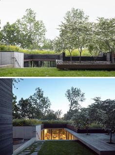 This modern house that sits on a hillside, has a green roof and a sunken entry courtyard. #Architecture #GreenRoof #ModernHouse