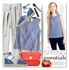 """J.Crew Chambray Scalloped Top"" by queenvirgo ❤ liked on Polyvore featuring J.Crew, 3.1 Phillip Lim, Jack Rogers and Michael Kors"