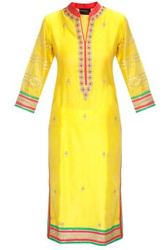 Yellow marodi embroidered kurta with duppatta available only at Pernia's Pop-Up Shop.