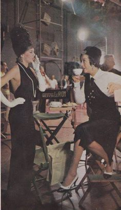 """Natalie Wood and Rosalind Russell on the set of """"Gypsy"""" (1962)"""