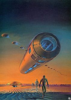 "Art by Bruce Pennington - Voyage Of The Space Beagle (1950), a classic novel of science fiction by A. E. van Vogt in the space opera subgenre. The novel is a ""fix-up"" compilation of four previously published SF stories, printed in magazines in 1939,1943 and 1950."