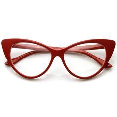 1950's Vintage Mod Fashion Cat Eye Clear Lens Glasses 8435 - zeroUV