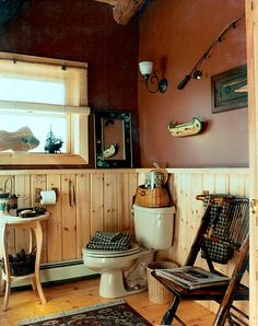 Adirondack-Style Country Powder room - this will be perfect for Washington :)