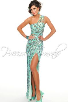 One of our Most Popular Dresses of the Season - One Shoulder Sequin Mint Evening Gown - Prom Dress - Precious Formals P8819 - RissyRoos.com