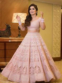 It's time to ditch the age-old traditional red lehenga and go for lehenga colours that express your individuality! Latest Bridal Lehenga, Designer Bridal Lehenga, Pink Bridal Lehenga, Pink Lehenga, Indian Wedding Wear, Indian Bridal Outfits, Indian Wear, Indian Gowns Dresses, Indian Fashion Dresses