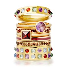 Garnet, amethyst and gemstones galore. This is a ring stack for someone who appreciates the finer things in life. #AstleyClarke #rings #stackingrings #designer #jewellery #British #gemstone #jewelry