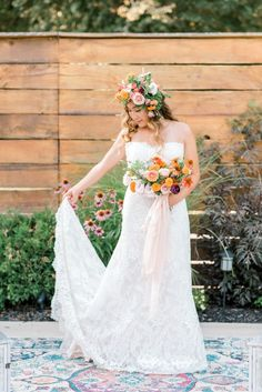 Boho Summer Garden Wedding Inspiration with Pops of Orange - Chic Vintage Brides Bear Wedding, Romantic Wedding Inspiration, Chic Vintage Brides, Floral Headpiece, Bridal Shoot, Summer Garden, Beautiful Bride, Wedding Colors, Boho