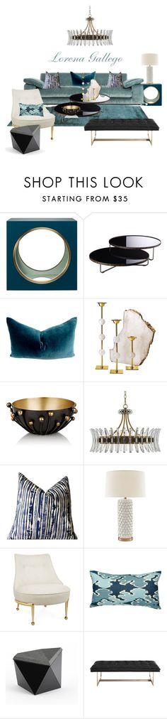 """Azul"" by lorena-gallego on Polyvore featuring interior, interiors, interior design, home, home decor, interior decorating, The Lacquer Company, Modloft, RabLabs and Arteriors"