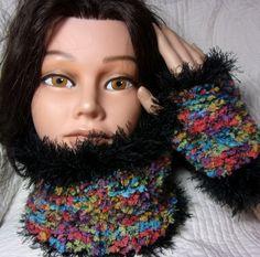 snood , col et mitaines ultra doux multicolores : Echarpe, foulard, cravate par naro17