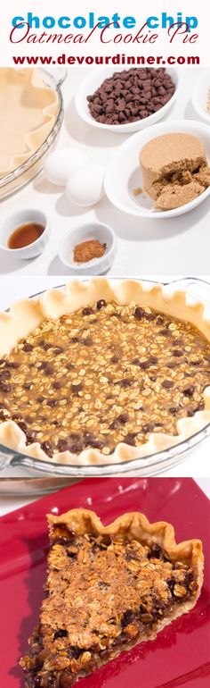 Oatmeal Chocolate Chip Cookie Pie - Devour Dinner