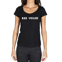 bad wiessee, German Cities Black, Women's Short Sleeve Rounded Neck T-shirt 00002
