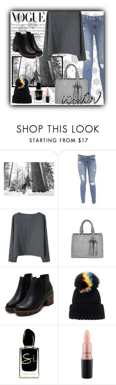 """""""Winter 2017 by VOGUE"""" by clo-23 ❤ liked on Polyvore featuring SOREL, Genetic Denim, Opening Ceremony, Eugenia Kim, Giorgio Armani and MAC Cosmetics"""