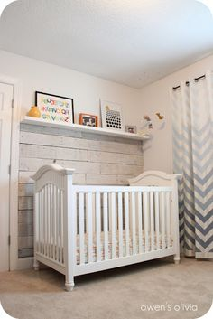 DIY Rustic whitewashed pallet wall (reclaimed wood) paired with glam chevron drapery.
