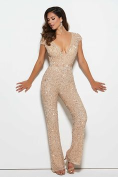 Pant Suits V-neck Floor-length Sequined Evening Dress