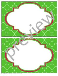$3.00 Teacher Chic Large Labels: Apple Green & Hot Pink