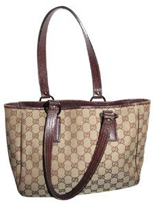 6cad4104f48906 Gucci Satchel/Tote High-end Bohemian Mint Condition Classic Gg Canvas/Leather  Tote in brown large G logo print canvas and brown leather