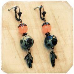 Boucles d'oreilles avec perles oranges : Boucles d'oreille par laperle2laperle