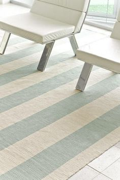 Dash and Albert Yacht Stripe Ocean Woven Cotton Rug, easy to put away if you want to do an art project