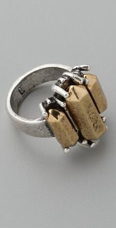 Low Luv x Erin Wasson Metal Crystal Cocktail Ring $65