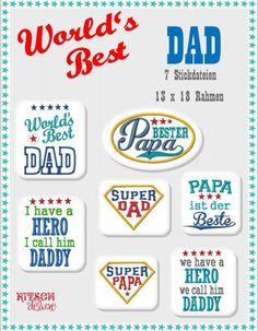 Stickdatei ★ WORLD'S Best DAD ★7 Dateien von Kitsch-deluxe auf DaWanda.com