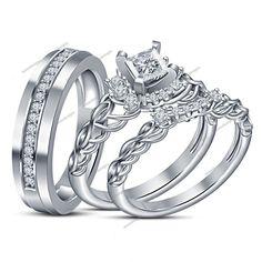 Princess Cut 3.14 Carat Diamond Peg Head Set His & Her Trio Engagement Ring Set #aonedesigns