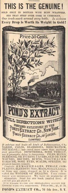 vintage ponds ads | Pond's Extract Co.'s Pond's Extract – This Is The Genuine ...
