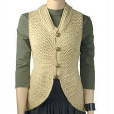 """Berroco Elliot Rounded Off Vest Free Crochet Pattern. Elliot is a crocheted cardigan vest with a circular peplum. SIZES: XS (S, M, L, 1X, 2X) FINISHED MEASUREMENTS Bust (closed) – 30(34-38-42-46-50)"""" Length – 19 1/2(21-22 1/2-24-25 1/2-27)"""" YARN: 7(7-9-10-12-13) Hanks BERROCO ULTRA ALPACA LIGHT (50 grs), #4208 Couscous HOOK: size 3.75 mm (F) GAUGE: 21 sts = 4""""; 20 rows = 4"""" in body pat 14 hdc's = 4""""; 12 rows = 4"""" in hdc Free Pattern More Patterns Like This!"""