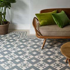 Décor Geo will provide your space with a heritage inspired retro feel. Geo Ecru combines soft grey with a warm cream hue to create this… Amtico Flooring Kitchen, Hall Flooring, Grey Flooring, Stone Flooring, Flooring Ideas, Bathroom Flooring, Floors, Victorian Hallway, Victorian Tiles